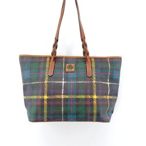 Dooney & Bourke Plaid Tote Bag Leather Purse